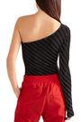 PUSHBUTTON One-shoulder striped Lurex bodysuit