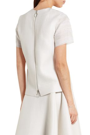 ROKSANDA Frayed organza-paneled wool and silk-blend top