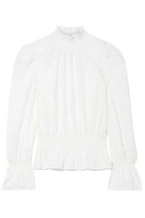 FRAME Shirred cotton-poplin top