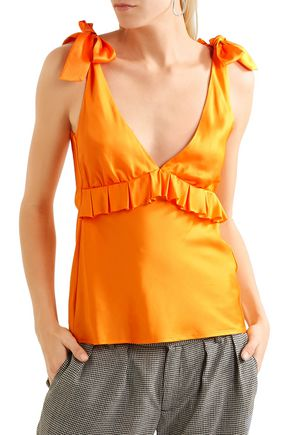 MAGGIE MARILYN Bow-detailed ruffled satin-twill top
