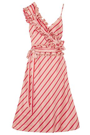 MAGGIE MARILYN Convertible ruffled striped silk-satin dress