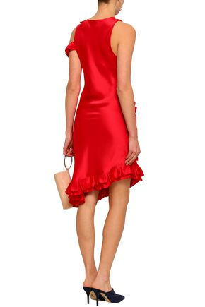 MAGGIE MARILYN My Special Something cold-shoulder ruffled silk-satin midi dress