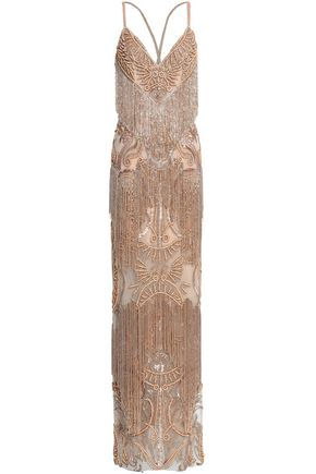 ZUHAIR MURAD Fringed embellished silk-blend tulle gown
