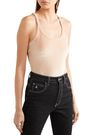 MADEWELL Stretch-velvet thong bodysuit