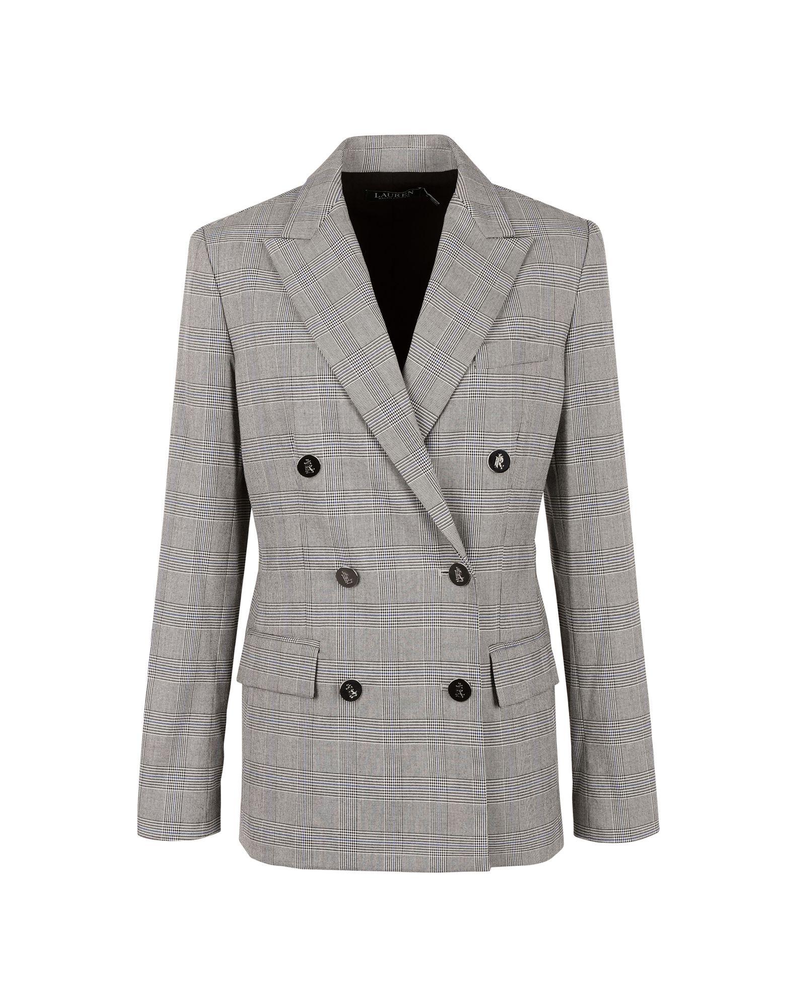 《セール開催中》LAUREN RALPH LAUREN レディース テーラードジャケット グレー 4 ポリエステル 69% / レーヨン 29% / ポリウレタン 2% Double Breasted Twill Blazer