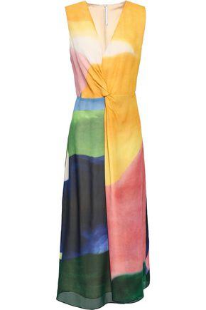 ROSETTA GETTY Twist-front printed silk-chiffon midi dress