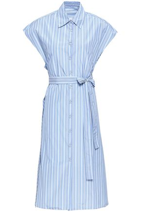 ROSETTA GETTY Belted striped poplin shirt dress