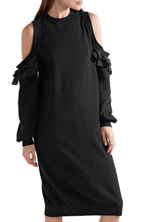 CLU Ruffled silk-trimmed French cotton-terry dress