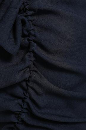 JIL SANDER Draped crepe-satin maxi dress