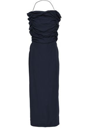 JIL SANDER Draped crepe-satin maxi dress