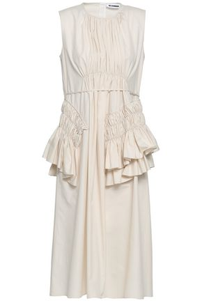 JIL SANDER Ruffled cotton-poplin midi dress