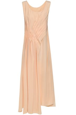 JIL SANDER Pleated draped silk midi dress