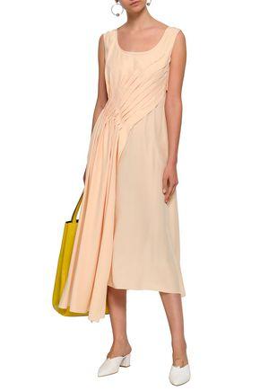 JIL SANDER Pleated draped silk midi dress