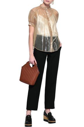 JIL SANDER Coated striped woven blouse