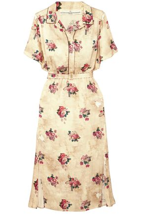 GOLDEN GOOSE DELUXE BRAND Floral-print satin midi shirt dress