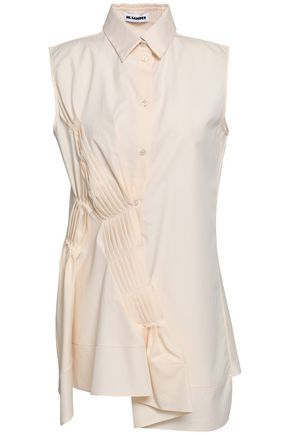 JIL SANDER Asymmetric pleated cotton-poplin shirt