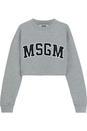MSGM Cropped appliquéd French cotton-blend terry sweatshirt