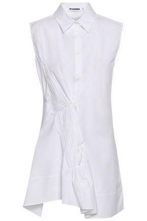 JIL SANDER Asymmetric pintucked cotton-poplin shirt