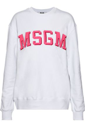 MSGM Appliquéd French cotton-terry sweatshirt