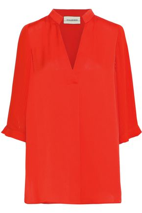 BY MALENE BIRGER Sanah pleated chiffon-paneled sateen blouse