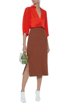 BY MALENE BIRGER Sanah pleated chiffon-paneled sateen blouse