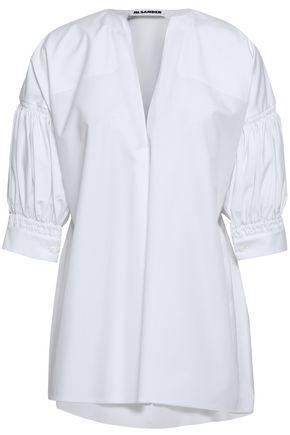 JIL SANDER Gathered cotton-poplin shirt