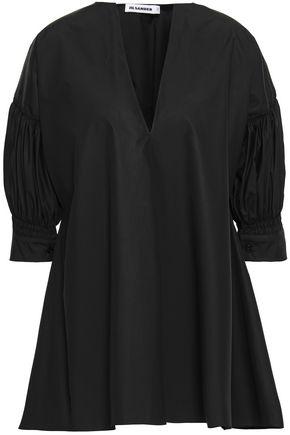JIL SANDER Gathered cotton-poplin blouse