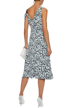 PROENZA SCHOULER Cold-shoulder paneled printed silk midi dress
