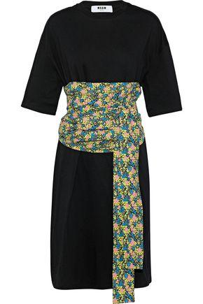MSGM Floral-print poplin-paneled cotton-jersey dress
