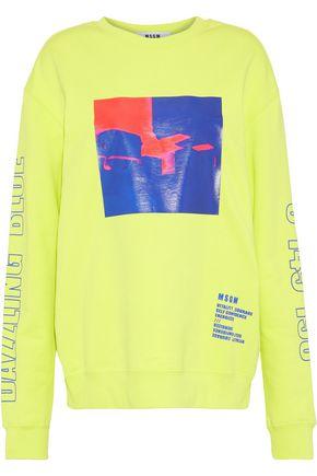 MSGM Neon printed French cotton-terry sweatshirt