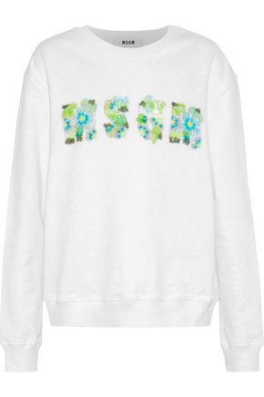 MSGM Bead and sequin-embellished French cotton-terry sweatshirt
