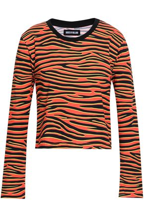 HOUSE OF HOLLAND Animal-print stretch-cotton top