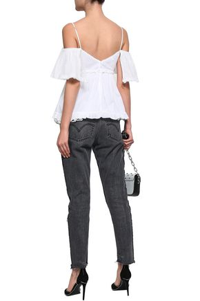McQ Alexander McQueen Cold-shoulder point d'esprit-trimmed cotton top