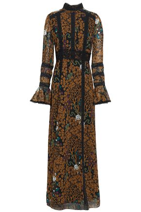 ANNA SUI Lace-trimmed printed chiffon maxi dress