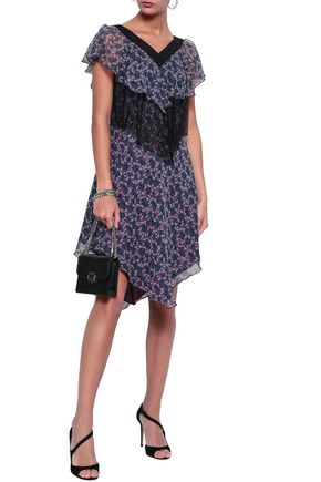 ANNA SUI Chantilly lace-paneled floral-print silk-gauze dress