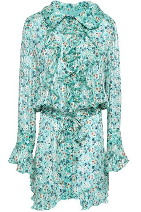 ANNA SUI Ruffled floral-print silk-georgette mini dress
