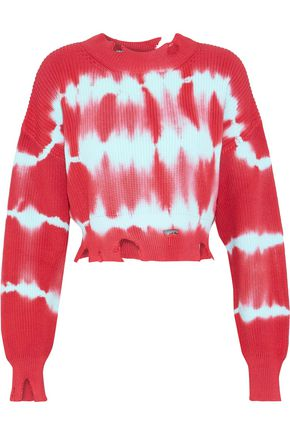 MSGM Cropped distressed tie-dyed cotton sweater