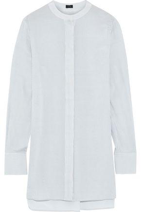 JOSEPH Pinstriped washed-silk tunic
