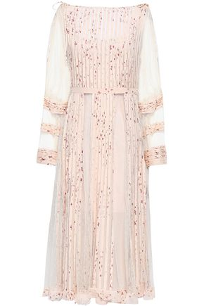 REDValentino Pleated printed point d'esprit and georgette midi dress
