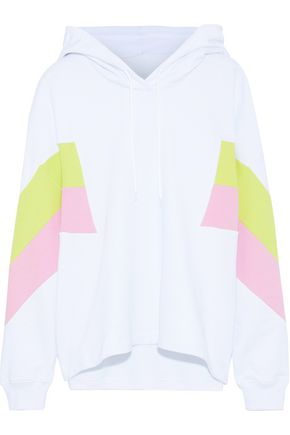 MSGM Color-block French cotton-terry hooded sweatshirt