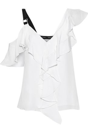PROENZA SCHOULER Cold-shoulder ruffled silk crepe de chine blouse
