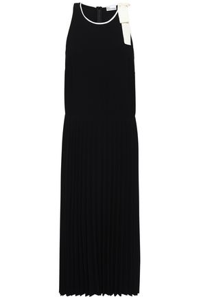 REDValentino Bow-detailed pleated crepe midi dress
