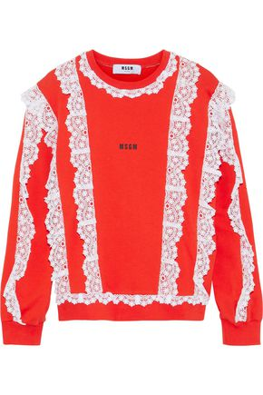 MSGM Lace-trimmed printed French cotton-terry sweatshirt