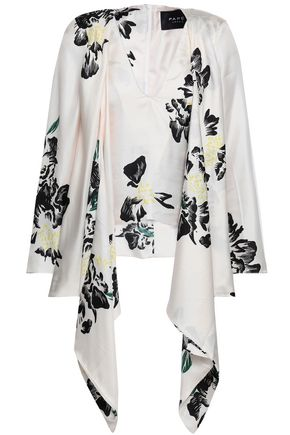 PAPER London Draped floral-print silk-twill blouse