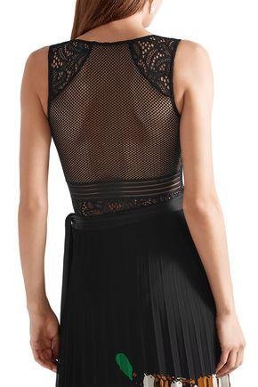BY MALENE BIRGER Mesh-paneled lace bodysuit