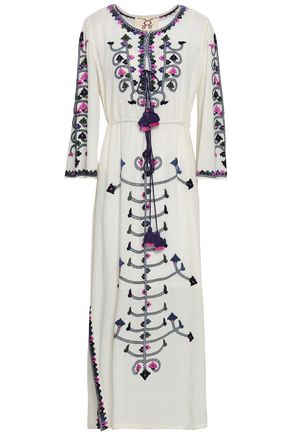 FIGUE Nadia tasseled embroidered cotton-gauze maxi dress