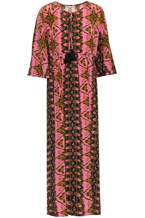 FIGUE Printed silk crepe de chine midi dress