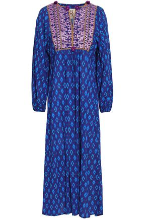 FIGUE Embroidered printed cotton-blend midi dress