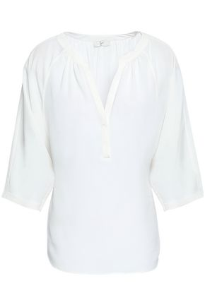 JOIE Yareli gathered crepe de chine blouse