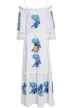 FIGUE Noelle cold-shoulder embroidered cotton maxi dress